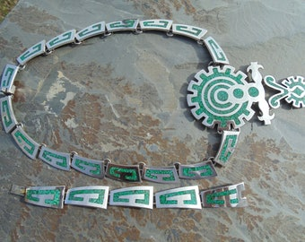 Two Trees ~ Vintage Mexico Sterling Silver and Crushed Stone in Green Enamel Large Tribal Necklace and Bracelet Set - 144 Grams