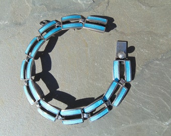 Margot de Taxco ~ Vintage Mexico Sterling Silver and Sky Blue Enamel Link Bracelet