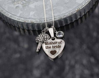 Mother of the bride gift, wedding mother necklace with charms, mother of the bride jewelry, bridal party jewelry thank you gift for mom