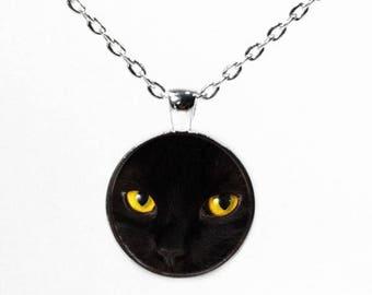 Round Silver Black Cat Eyes Pendant - Halloween Black Cat Jewelry - Black Kitten Necklace - Cat Lover Jewellery