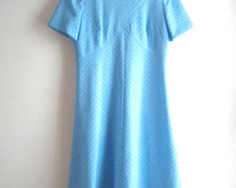 60's Baby Blue Novelty Print Mod A Line Midi Dress / Women's Modern Size L / Mad Men / Retro / Office / Airline Stewardess