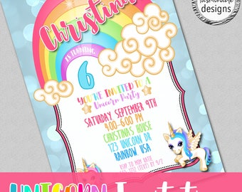 Customized Unicorn Invitation, Unicorn Birthday, Rainbow Invitation, JPG file
