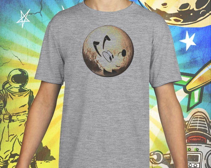 Planet Pluto / New Horizon Flyby / Gray Child Size Performance T-Shirt