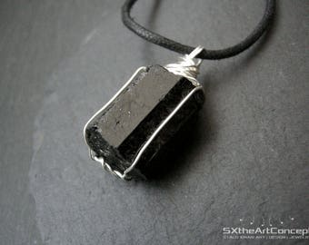 Black Tourmaline pendant, unisex amulet necklace, electromagnetic field emf protection stone, Schorl jewellery, gift for him, men jewelry