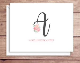 Floral Initial Note Cards - Folded Note Cards - Initial Floral Stationery - Floral Thank You Notes - Flower Initial Note Cards - ANY INITIAL