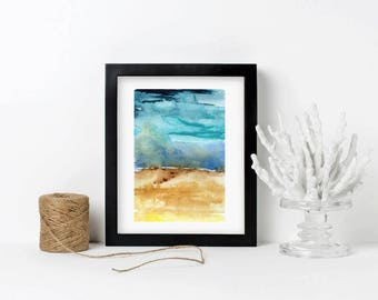 Modern Watercolor Landscape Painting Contemporary Abstract Wall Art, Blue, wedding gift, Giclée, Gift for Her Gift for Him - Field & Sky 1