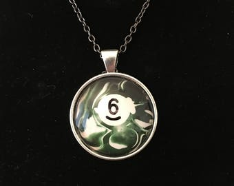 "Necklace - # 6 Swirl Pool Ball Image under glass dome. (16""-24"")"