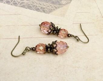 Victorian Earrings, Pink Earrings, Antique Gold Earrings, Victorian Jewelry,Bridal Earrings, Womens Earrings,Czech Glass Beads, Chunky Beads