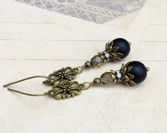 Black Earrings, Black Diamond Earrings, Long Black Earrings, Black and Gold Earrings, Czech Glass Beads, Victorian Earrings, Long Earrings