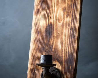 Rustic Wood Wall Sconce, Farmhouse Decor, Candle Sconce, Shou Sugi Ban, Rustic Home Decor, Candle Holder, Cast Iron Wood Sconce