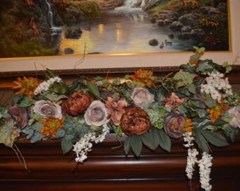 Mantle Swag, Floral Swag, Fireplace swag, Wall Swag, Floral Decor Swag,Bohemian Mantle Swag, Fireplace hearth swag, Fall Garland