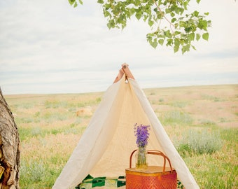 Play Tent - Four-Foot-Tall Canvas A Frame Tent with Flaps and Full Frame | Teepee | Birthday Party | Camp Theme