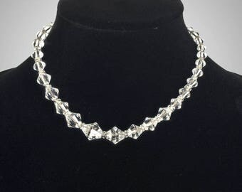 graduated clear cut crystal beaded choker necklace
