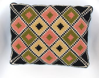 Polish Wool Rectangle Pillow Vintage Cross Stitch Embroidery Textile Woven retro pillow Embroidery Rhombs Black Pink Green Yellow Cottage