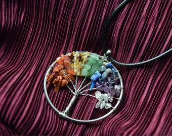 Wire Wrapped Chakra Tree Of Life Pendant