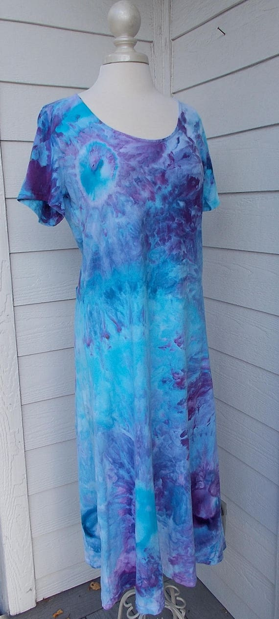 End of Summer Sale! Ice dye tie dye Dress  L Multi