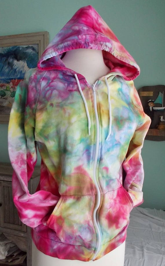 Ice dye tie dye Medium Zip Hoodie