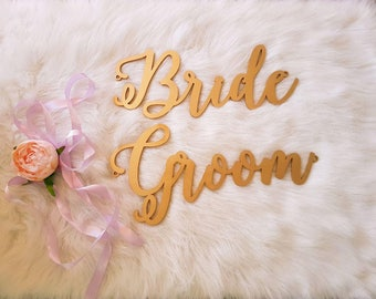 Bride Groom chair signs. Wedding chair signs.