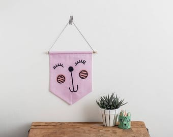 Happy face Wall hanging, Cute pennant flag, Textile banner, Cute animal art, Kawaii Squishes, children's wall art, Smiley face, Pink nursery