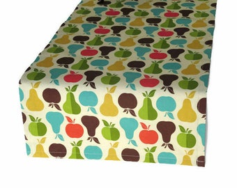 Apple & Pear Cloth Table Runner in 8 Lengths, Apple Table Runner, Apple and Pear Table Decor, Fruit Table Runner with Matching Napkins