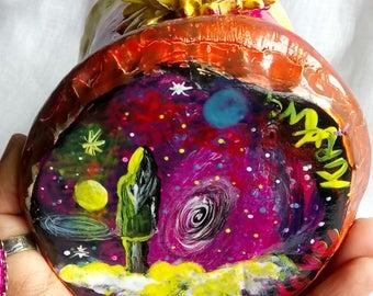Dreamy SunFlower Galaxy mug with Quartz Crystal,Meditation, Fantasy, healing,peaceful,enchanting,personalised mug, peace, personalised gift.