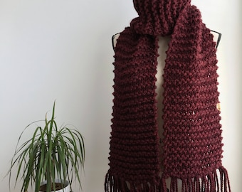 READY TO SHIP Burgundy extra long fringed super scarf, oxblood fringe, fringed scarf, extra long scarf, super scarf, cozy scarf, knit wool s