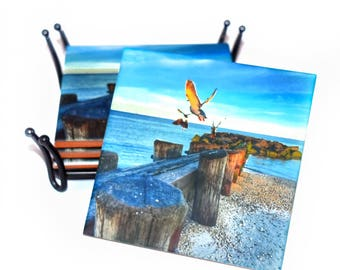 Valentines Day Gift Beach Coasters / Housewarming Gift New Homeowners / Mix & Match or In a Set of 4 / Beach Gift
