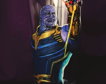 Thanos Gauntlet: Hand painted Glass