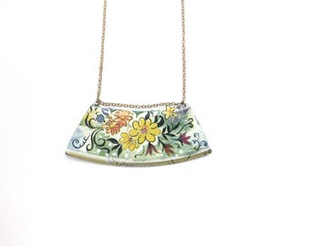 floral bohemian necklace - vintage tin jewelry - recycled sustainable gold bin necklace