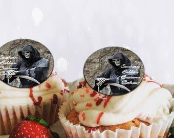 Edible Grim Reaper Halloween cupcake topper-edible grim reaper cake, cookie topper-edible cake wrap-personalized halloween decorations
