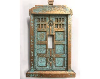 Tardis (Dr Who) - Light Switch Cover - Aged Copper/Patina
