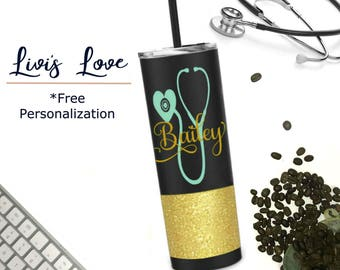 Stainless steel Nursing Tumbler - Personalized - Glitter dipped 20 oz Travel to go cup tumbler water bottle Cna / Emt / Medical stethoscope