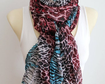 Leopard Print Scarf Animal Print Scarf Women Scarf Personalized Gift Beauty Gift Christmas Gift for Women Stocking Stuffer Black Friday Sale
