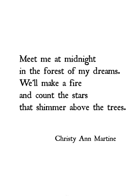 Romantic Gifts for Him or Her - Meet Me at Midnight in the Forest of My Dreams Love Quote Print