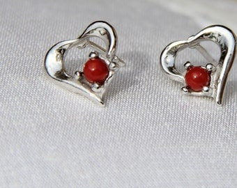 Earrings with genuine red coral from Corsica and Sterling Silver (18 o b)