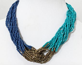 Blue, Teal and Bronze Necklace / Blue, Teal and Bronze Multi Strand Bib Necklace.
