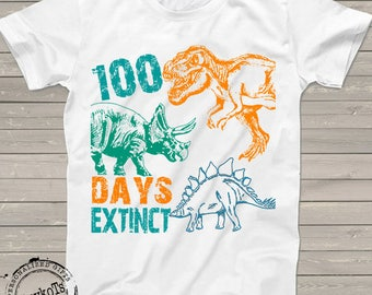 100 Days of school shirt, dino tshirt, dinosaur 100 days extinct t-shirt, funny teacher kindergarten, prek shirts