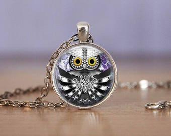 Steampunk Silver Owl Pendant Necklace