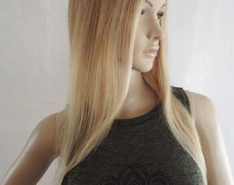 100% human remy hair clip in topper, 8/22 auburn brown and blonde highlights, 4x5 inch lace base, 18 inches long