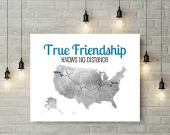 Moving Gift for Friends | Long Distance Friend Quote | Map | Moving Out of State | Another Country | Custom Map Art - 49477