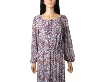 Vintage 60s/70s Prairie Boho Goddess Ditsy Floral Maxi Dress Size M