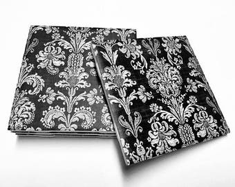 Black and White Floral Coasters - Floral Decor - Black and White Decor - Drink Coasters - Tile Coasters - Ceramic Coasters - Table Coasters