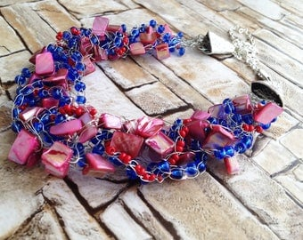 Wire crochet/ Blue red crocheted wire necklace/ Wire wrapped shell beads necklace/ Bib necklace/ Statement Necklace/ Bohemia gift for her