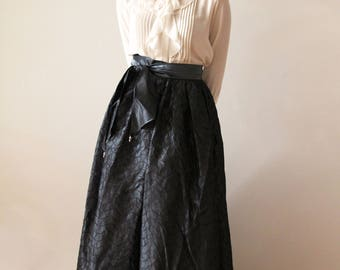 Vintage Blue Textured Taffeta Floor Length Maxi Skirt