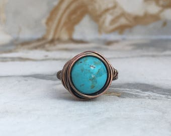 Turquoise Statement Ring | Wire Wrap Rings | Statement Rings | Minimalist Rings | Boho Rings | Vintage Rings | Bespoke Rings | Womens Rings
