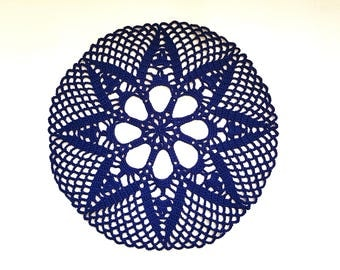 Crochet Black doily #3, White  Wedding Doily, Black New Hand Crochet Doily, Round Doily, Crochet Lace Doily
