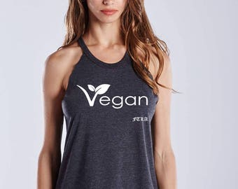 FTLA Apparel Warrior Goddess Heather Charcoal Raw Edge Vegan Leaf Tank Top, Vegan Tank Top, Vegan Shirt, Muscle Tank, Workout Shirt, Fitness