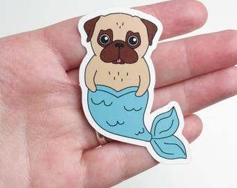Pug Mermaid Sticker - vinyl sticker - outdoor sticker