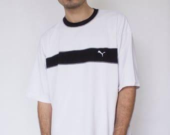 PUMA TSHIRT -black, white, 90s, sportswear, vaporwave, cyber, aesthetic, hip hop, activewear, adidas, nike, kappa, short sleeve-