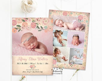 Floral Birth Announcement Baby Girl Birth Photo Announcement Floral Baby Announcement Printable File // Printable OR Printed No.538BABY